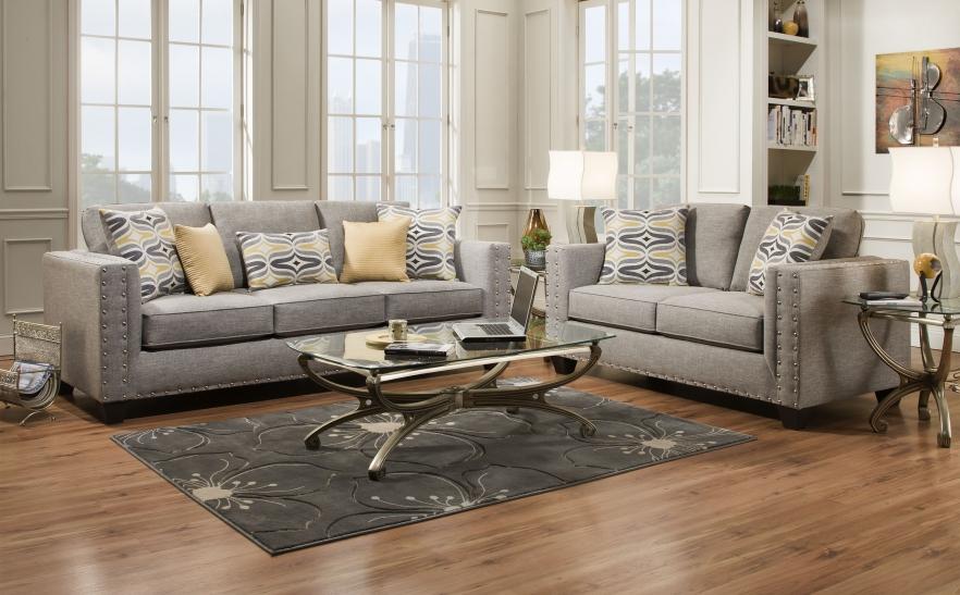 2pc Sofa Loveseat Set Gray Nail-head | Big Dan's Furniture & Mattress
