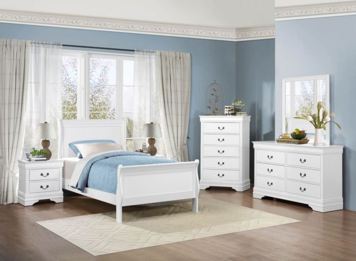 Louise phillipe white twin 6pc bedroom set 2147w big - White bedroom furniture for girl ...
