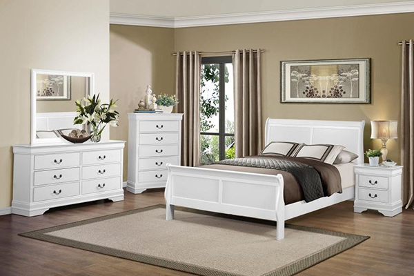 6PC KING BEDROOM SET #2147 WHITE