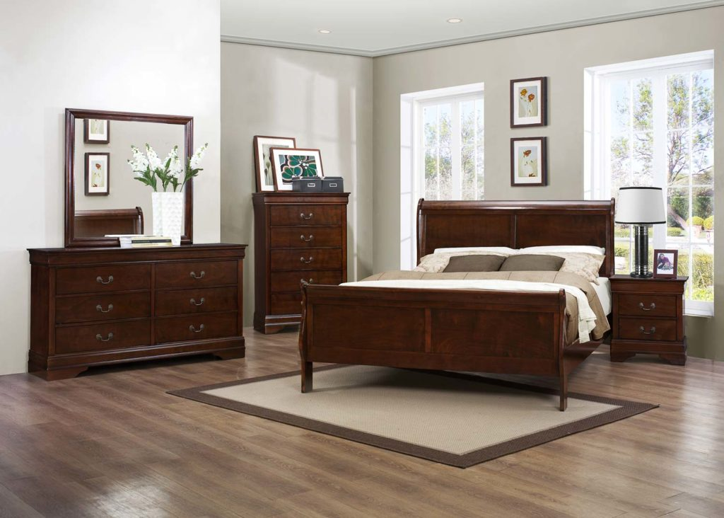 CHERRY LOUIS PHILIPPE FULL 6PC BEDROOM SET #2147 | Big Dan\'s ...