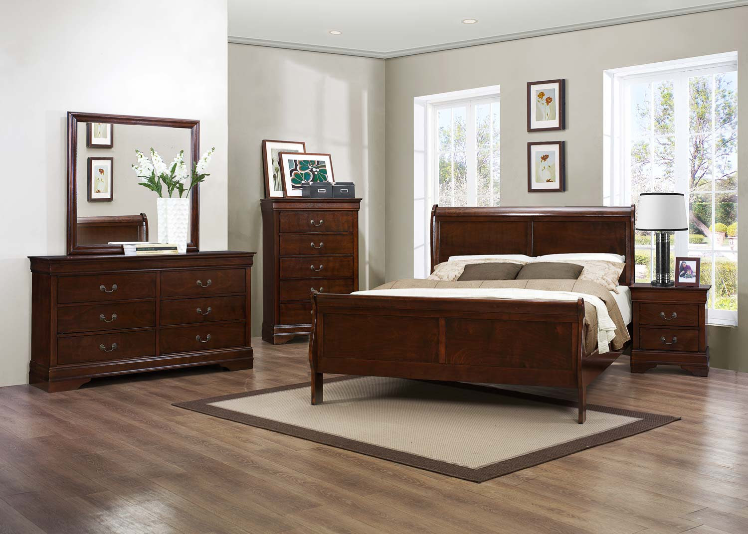 CHERRY LOUIS PHILIPPE QUEEN 6PC BEDROOM SET #2147 | Big Dan\'s ...