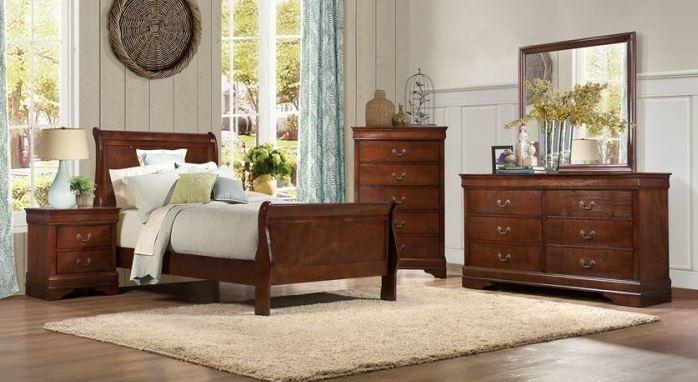 CHERRY LOUIS PHILIPPE TWIN 6PC BEDROOM SET #2147 | Big Dan\'s ...